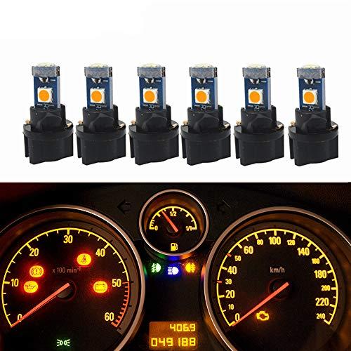 WLJH Lot de 6 ampoules LED T5 PC74 37 3-3030SMD Canbus sans erreur pour tableau de bord avec douille tournante Jaune