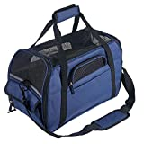 Pettom Soft-Sided Pet Carrier for Dogs Collapsible Cats Travel Bag Under Seat Airline Approved Tote Fleece Pet Mats Included Escape Proof -M Dark Blue