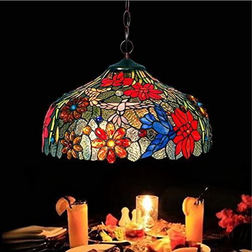 Lámpara colgante de araña para mesa de comedor Tiffany vendimia, pantalla de vidrio pintado retro, iluminación de diseño de colibrí ajustable en altura, rústica para dormitorio, oficina, 16 pulgadas