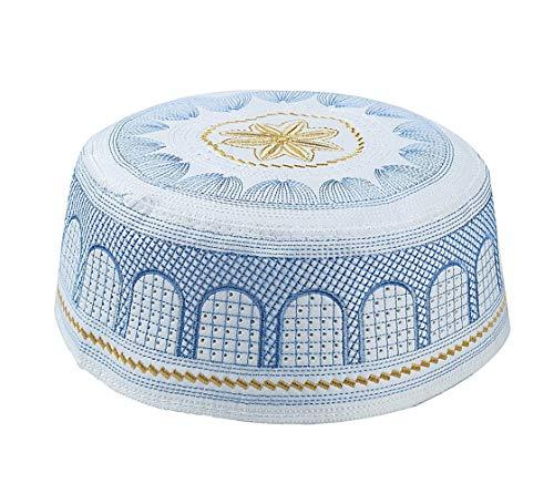 KRUIHAN Muslimischer Hut Islam Gebet Kopfbedeckung - Männlich Türkisch Arabien HUI Ramadan Stickerei Cap(Blau/58CM)