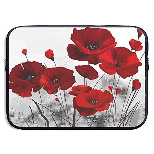 Red Poppy Flower Laptop Sleeve- Stylish Cute Neoprene Notebook Handbag 33cm*25.5cm*3.5cm