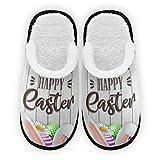 Pantofole da uomo con uova di Pasqua e fiori, fodera in peluche, per camera da letto, per interni ed esterni