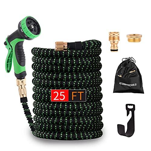 Eyesgood Gartenschlauch Flexibel 7.5m Wasserschlauch Flexibler Schlauch Erweiterbar Dehnbar mit 3-Fach Latexkern Gewebe hoher Dichte 10 Funktionsspray Düse aus Messing