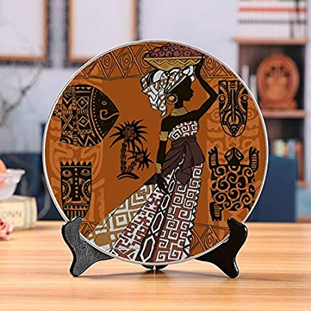THKDSC Beautiful Black Woman African Woman African Set African Decorate Plates Ceramic Plates Decor Home Wobble-Plate with Display Stand Decoration Household Plate Ceramic