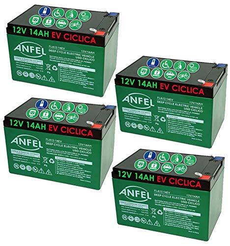 KIT 4 BATTERIE AL PIOMBO RICARICABILE 12V 48V 14AH CICLICA USO CICLICO BICI BICICLETTE ELETTRICHE MONOPATTINI QUAD ELETTRICI TRAZIONE ELETTRICA CONNETTORI FASTON 6,35mm DEEP CYCLE 6-DZM-14 6DZM14