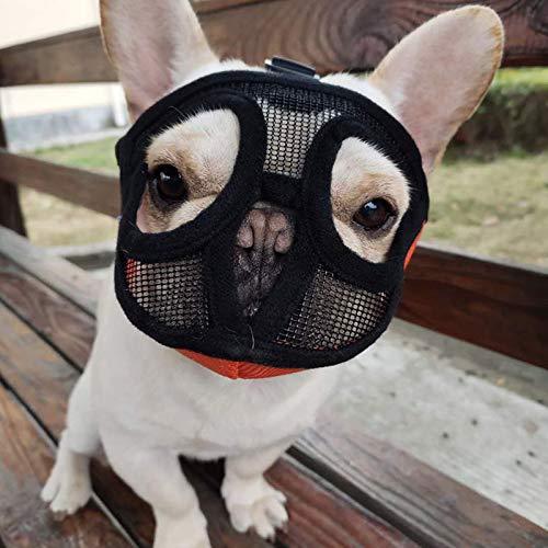 ASDZ Maulkorb für Hunde mit abgeflachter Schnauze-verstellbar,atmungsaktiv: Englische Bulldogge,Französische Bulldogge,Pekingese,Shih-Tzu,Mops,auch für Katzen geeignet.