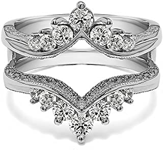 0.74 Ct. Chevron Vintage Ring Guard with Millgrained Edges and Filigree Cut Out Design in Sterling Silver with Cubic Zirconia
