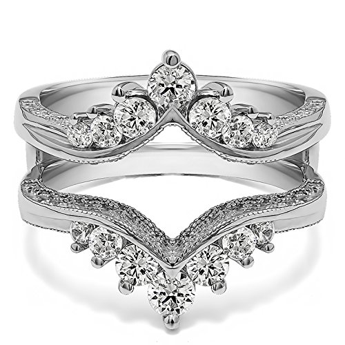 TwoBirch 0.74 Ct. Chevron Vintage Ring Guard with Millgrained Edges and Filigree Cut Out Design in Sterling Silver with Cubic Zirconia (Size 8)
