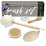 Better Bathe Boar Bristle Dry Brushing Body Brush 5 Piece Set Back Washer and Body Scrubber for Shower with Loofah Sponge on Long Handle, Boar Bristle Face Brush, Bath Mitt and Soothing Scalp Massager