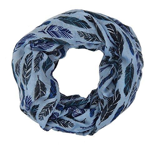 Ella Jonte Loop blau schwarz Federn by Ibiza Ethno Damenschal Schal Feder Loop