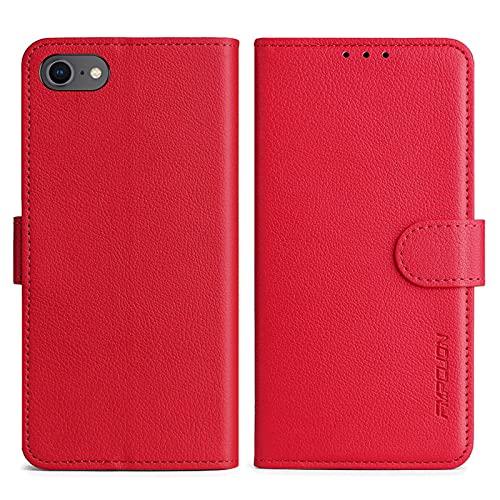 FMPCUON Handyhülle Kompatibel mit iPhone SE 2020/iPhone 8/iPhone 7 Hülle Leder PU Leder Tasche,Flip Hülle Lederhülle Handyhülle Etui Handytasche Schutzhülle für iPhone SE 2020/iPhone 8/iPhone 7,Rot