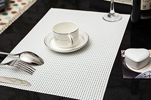 Tischset Platzset Clest F&H 8-8 weiß verdicken Platzmatte gewebt aus Kunststoff 45x30 cm(2er Set)
