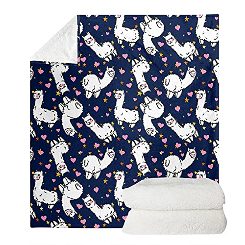 HUGS IDEA Llama Sherpa Manta de dibujos animados Alpaca Corazón Estrellas de felpa de felpa cálida, manta de camping azul marino linda Llama manta mullida Shaggy Bed Sheet-XL