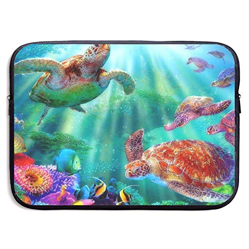 Laptop Sleeve Case Cover Bag, Computer Travel Pocket Pouch Handbag Compatible, Portable Tablet Slipcases Carry Bag for MacBook/HP/Acer/Asus/Dell Sea Turtle