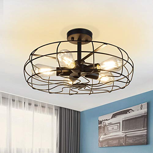 Depuley 5-Light Industrial Vintage Ceiling Light, Semi Flush Mount Metal Cage Ceiling Light Fixture-Oil Rubbed Bronze Close to Ceiling Light Hanging Lighting for Foyer, Bedroom, Farmhouse