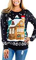 Women's Light Show Light Up Sweater - Stuck Santa Christmas Sweater w/Built in Lights