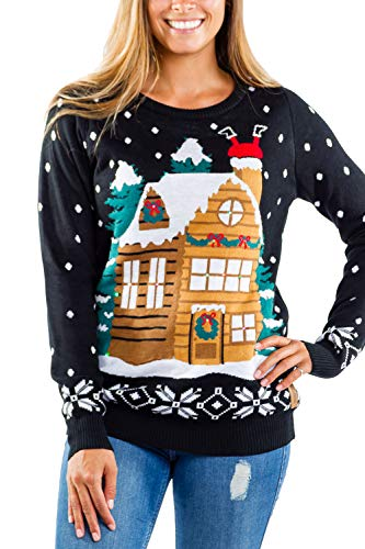 Tipsy Elves Women's Light Show Light Up Sweater - Stuck Santa Christmas Sweater: M Black