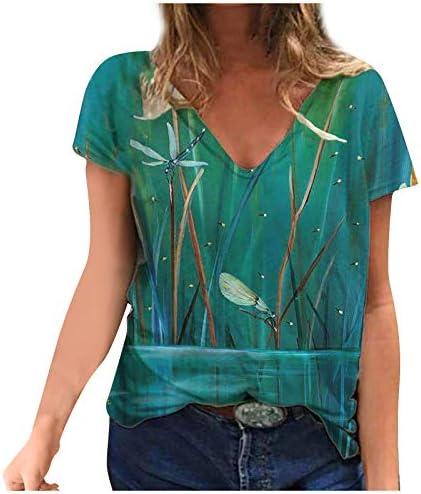 Grafisch Tshirt voor dames grappig libelle dierenprint bovenstuk schattig geschilderd patroon casual tops zomer korte mouwen bloemen Tshirts club party gepersonaliseerde Tshirtsgroen5XL