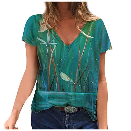 YANFANG Blusa de Camiseta con Cuello en V con Estampados de Manga Corta de Talla Grande para Mujer Casual Verano Basica Buen Juego, Green,XXXXL