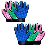 Grooming Glove Pet Hair Remover For Cats Dogs Pets Efficient Remover Mitt Gentle Deshedding Brush, Enhanced Five Finger Design Gloves Durable Breathable Comfortable Indoor (1 Pack Right Hand, Green)