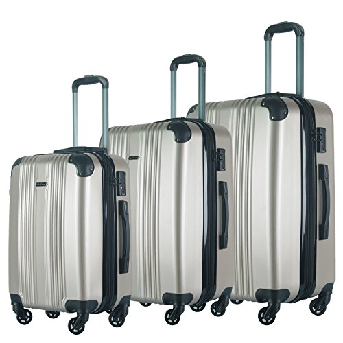 HyBrid & Company Luggage Set Durable Lightweight Spinner Suitcase LUG3-6111, 3 Pieces, Champagne