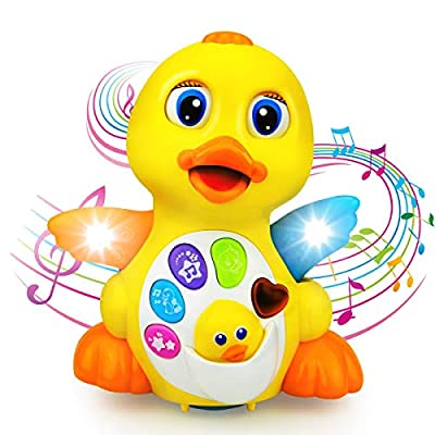 Liberty Imports Light Up Dancing Walking Yellow Duck Baby Toy with Music and LED for Infants, Toddler Interactive Learning Development, School Classroom Prize and Children