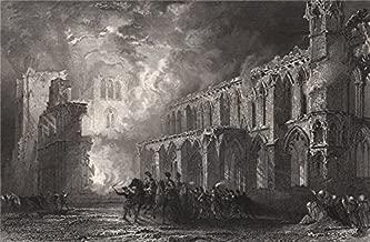 Destruction of Elgin Cathedral. Scotland. ALLOM - 1838 - old print - antique print - vintage print - Scotland art prints