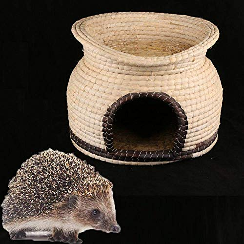 NLRHH Hedgehog Houses for Garden Waterproof, Straw Double Layer Hedgehog Feeding Station Hibernation Shelter Summer Winter Dormitory Small Animal House Hedgehog Box Outdoor Cat House Hand-woven.