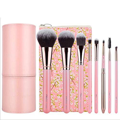Pinceaux Maquillage Brosses de beauté 8pcs 3 couleurs en option bambou charcoal barils débutant portable (Couleur : Pink)