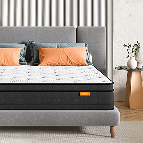 Sweetnight Double Mattress 4FT6 Gel Memory Foam Sprung Mattress 10 Inch Spring Hybrid Breathable Mattress Single Bed, Motion Isolating Individually Wrapped Coils, Medium-Firm Feel, 135x190x25 cm