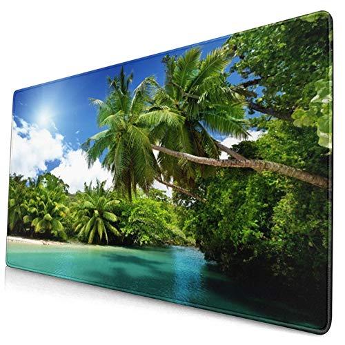 Nettes Mauspad ,See und Palmen,Mahe Island,Seychellen,Rechteckiges rutschfestes Gummi-Mauspad für den Desktop,Gamer-Schreibtischmatte,15,8 'x 29,5'