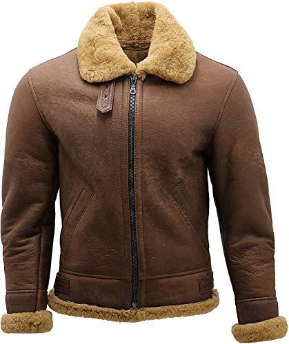 Mens B3 Bomber Brown Shearling Sheepskin Leather Aviator Flying jacket (L)