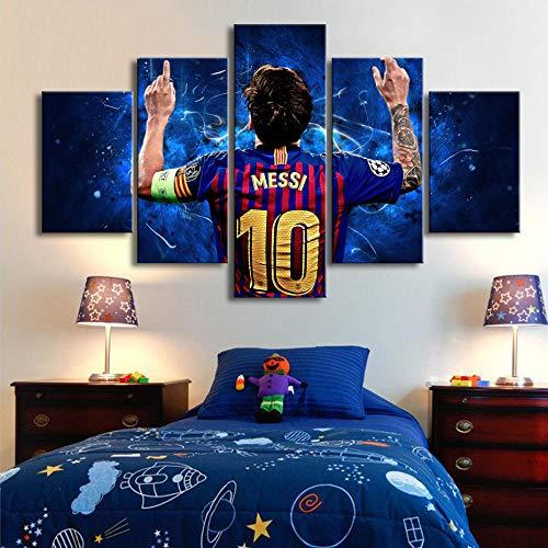 Cuadro En Lienzo - 5 Partes - Formato Grande - Impresion En Calidad Fotografica - Cuadro En Lienzo Tejido-No Tejido - Copa Mundial De Fútbol Messi 150X80 Cm