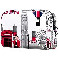 コンパクトメイクアップバッグポータブルトラベルコスメティックバッグ 女性用女の子トイレタリーバッグ,ロンドンのシンボル