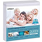 AirExpect Waterproof Mattress Protector Queen Size Premium Cotton Hypoallergenic Mattress Pad Cover, Deep Pocket, No Vinyl - 60 x80 Inches