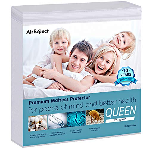 AirExpect Waterproof Mattress Protector Queen Size 100% Organic Cotton Hypoallergenic Breathable Mattress Pad Cover, 18' Deep Pocket, Vinyl Free - 60' x 80'