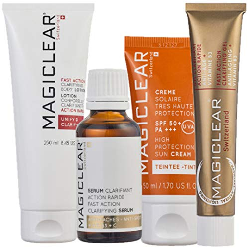 Luxury Dark spot remover corrector Bundle Serum Cream daily Cleancer and Tinted Sunscreen SPF 50 - Anti spot -Anti pigmentation and Anti wrinkles - Anti aging Best Swiss brand Magiclear 100% result