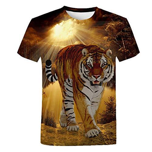 3D Gedrucktes T-Shirt,Männer Casual Rundhalsausschnitt Kurze Ärmel Realistische Tiger Grafik Frauen Sommer Lustige T-Shirt Atmungsaktive Tops Geeignet Für Mode Unisex Teens Holiday Party, X, Groß