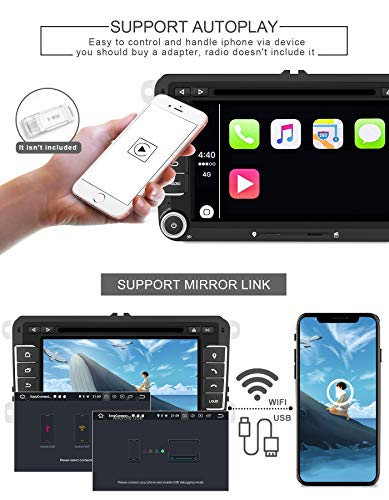 Aumume Android 10.0 Autoradio GPS pour Golf VW Seat Skoda Navigation de Voiture Ecran Tactile 7 Pouces Supporte Bluetooth DSP Mirrorlink Commande au Volant (avec Carte de 16 Go)