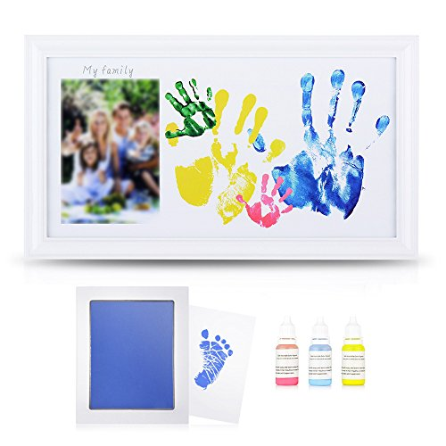 DIY Family Photo + Family Hand/Footprints Kit with 10 X 17'' Elegant White Wood Picture Frame, Ink...