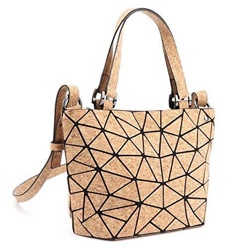 Tikea Kork Damenhandtasche - Fashion Geometrische Henkeltasche für Damen Kork Umhängetasche Luminous Holographische Tasche mit Top-Griff, S