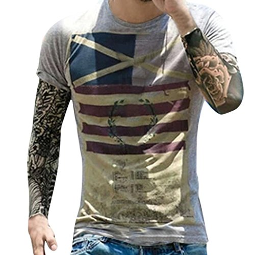 T-Shirt Da Uomo _ FeiXIANG Moda Casuale Maniche Corta Girocollo T Shirt Stampa Digitale Camicetta Maglietta Da Uomo Camicie Da Uomini Tees Manica Corta Tops Maniche Corte Polo Shirts (Grigio, M)