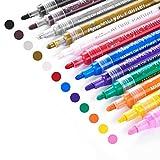 Acrylic Paint Marker Pens, Emooqi 12 Colors Premium Waterproof Permanent Paint Art Marker Pen Set for Rock Painting, DIY Craft Projects, Ceramic, Glass, Canvas, Mug, Metal, Wood, Easter Egg
