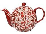 London Pottery Splash Globe - Tetera con colador, cerámica, color rojo y blanco, 4 tazas (900 ml)