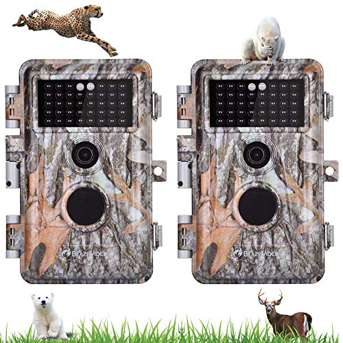 BlazeVideo 2tlg. Wildkamera 20MP 1080P Wildtierkamera für Jagd&Naturbeobachtung, Tarnenfarbe in Wald, IP66 Wasserfest, Unsichtbare Nachtsicht bis zu 70ft/21m, 2,31