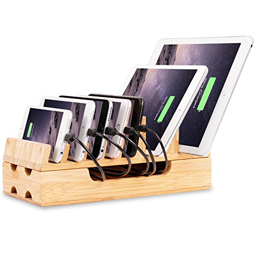 Charging Station, Levin Eco-Friendly Bamboo Charging Station Rack & Docking Organizer for Multiple Devices Such As Smartphones & Tablets