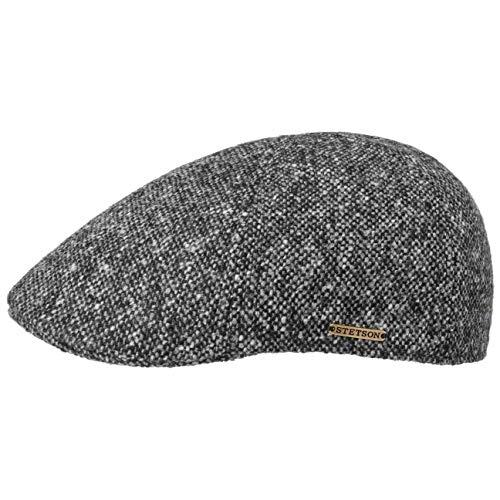 Stetson Texas Donegal Wool Flatcap Herren - Made in The EU - Gefütterte Schirmmütze aus Baumwolle - Schiebermütze aus Wolle - Melierte Tweed-Cap - Herbst/Winter grau-meliert XL (60-61 cm)