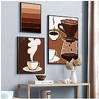 アートパネル ZXYFBH モダンコーヒーレトロコーヒー漫画HDプリントウォールアートキャンバス額縁家の装飾フレームなしリビングルーム15.7x19.7in(40x50cm)x3pcsフレームなし