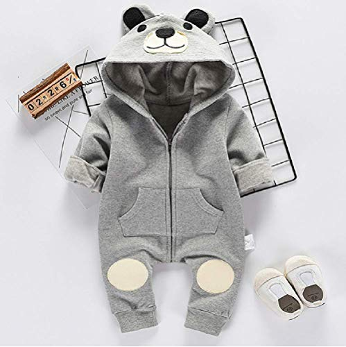 Bär Strampler grau weiß für Baby ab 3 bis 6 oder 6 bis 9 Monat, Größen 70,80 Mode Neugeborene