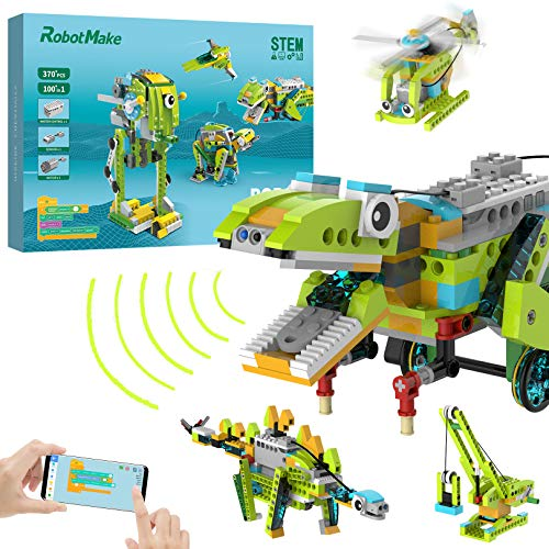 100 in 1 Robot Building Kits for Kids, Scratch STEM Educational Coding Remote Controlled Toys, APP Controlled Robots Building Kit for Kids Age 6 yrs Old and Up,with Master Control/Sensor/Motor and APP